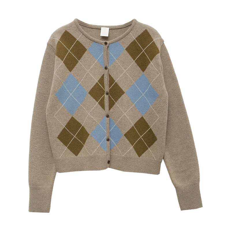 Argyle Pattern Button-Up Knit CardiganThe delivery starts from Nov.10th along with your purchase order!!