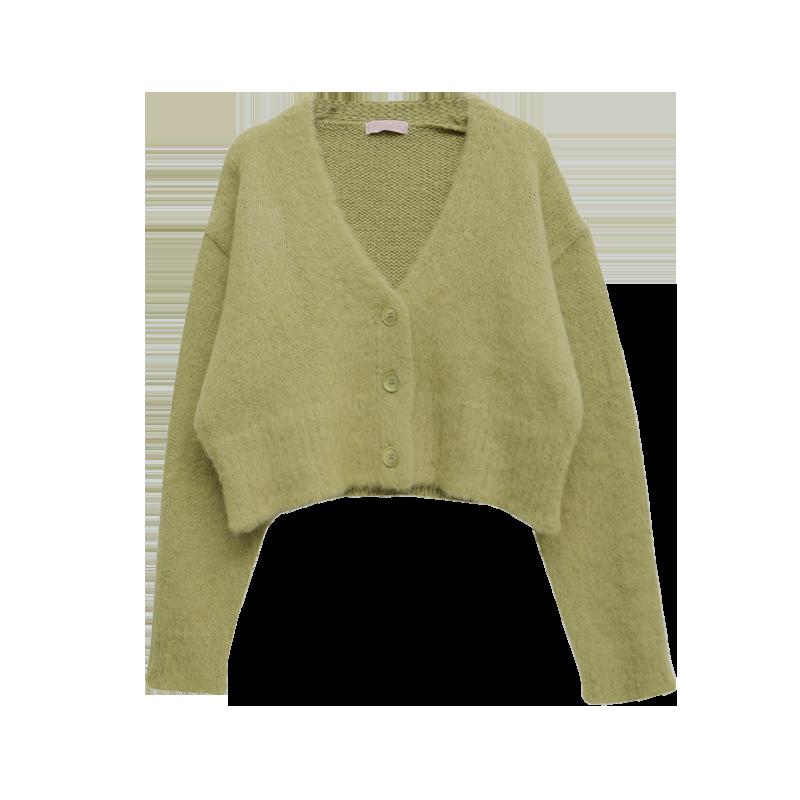 毛絨感V領短版針織外套