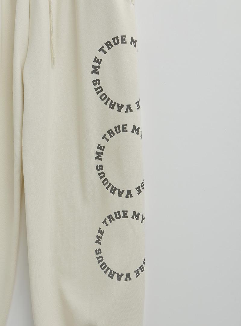 [VARIOUS ME] 圓環印字刷毛束口褲
