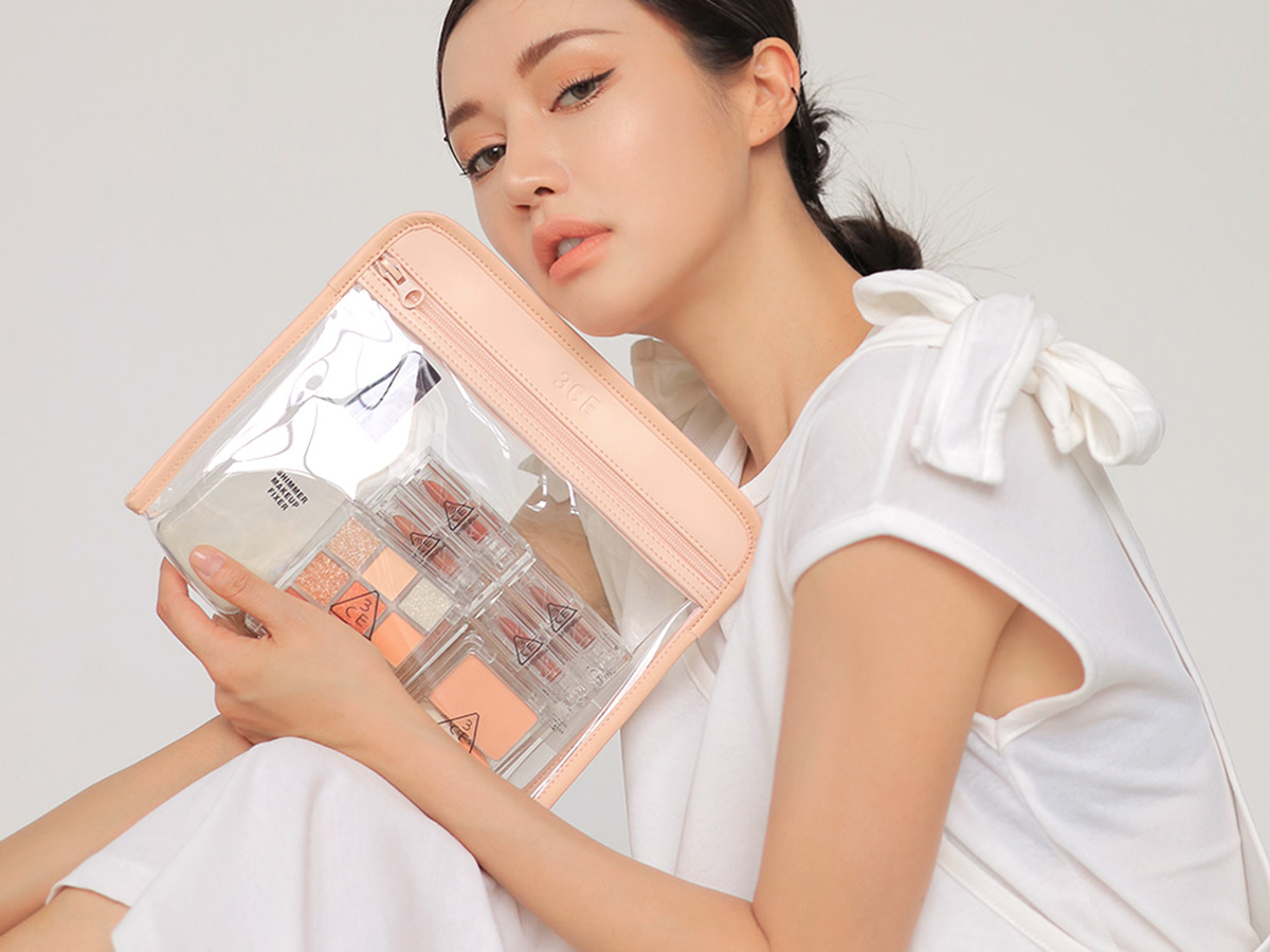 3CE CLEAR TRIANGLE POUCH #PINK
