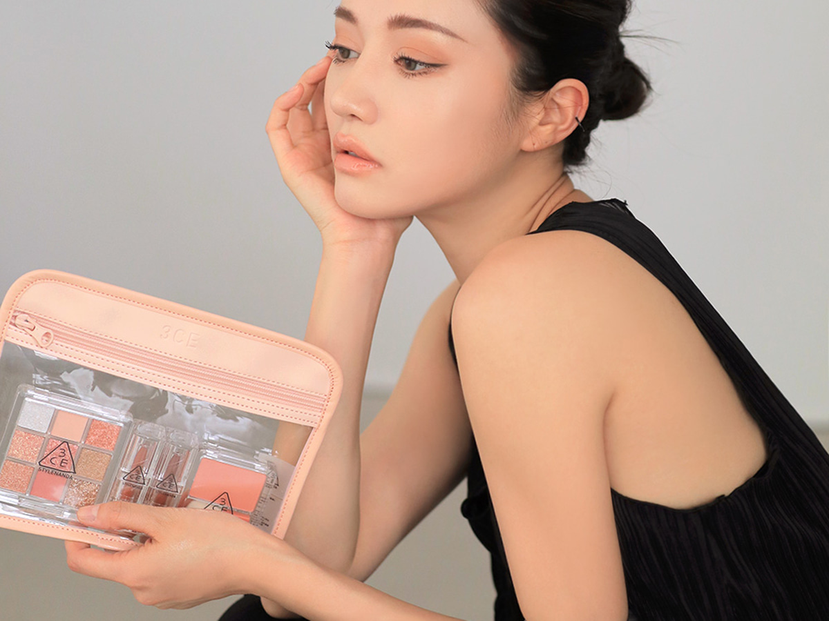 3CE CLEAR FLAT POUCH #PINK