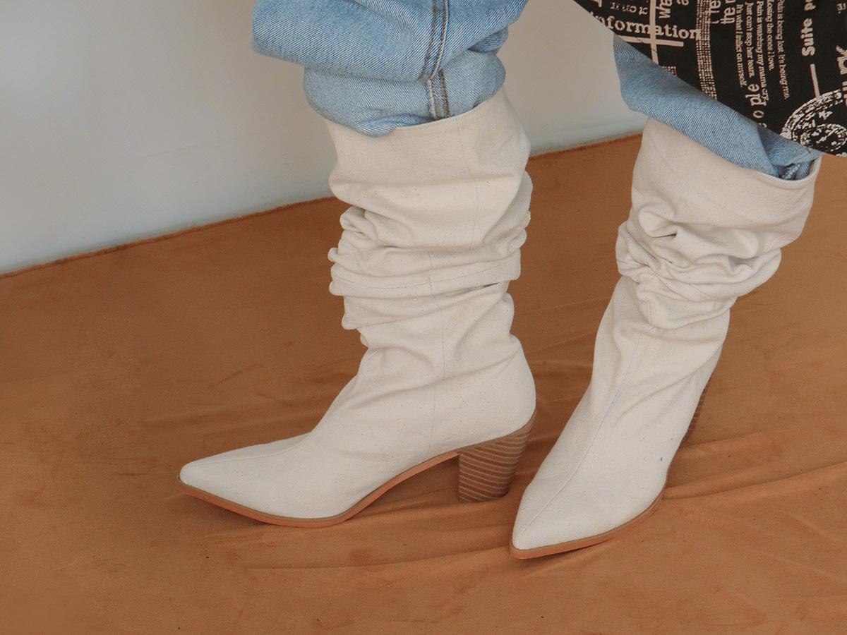 Block Heel Linen Slouch Boots