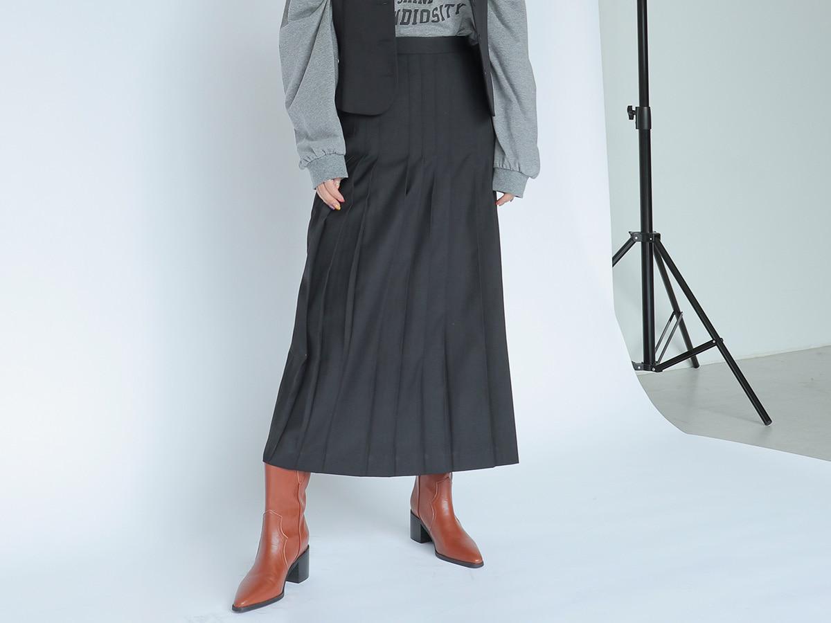 Topstitched Pleat Midaxi Skirt