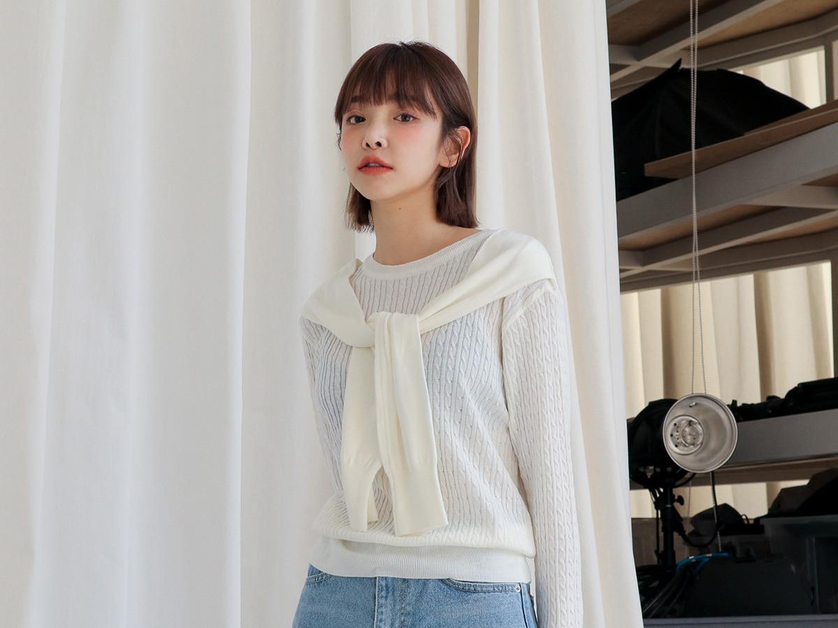 披肩造型麻花紋針織上衣