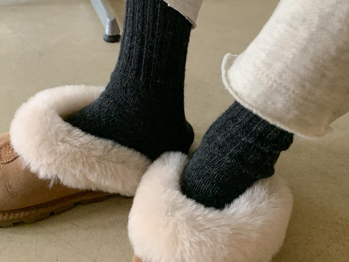 Rib Trim Crew Socks
