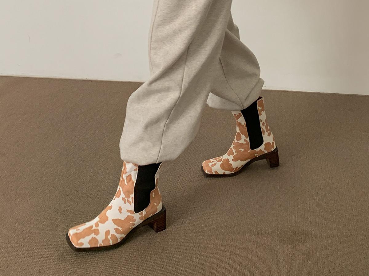 Cow Print Block Heeled Chelsea Boots