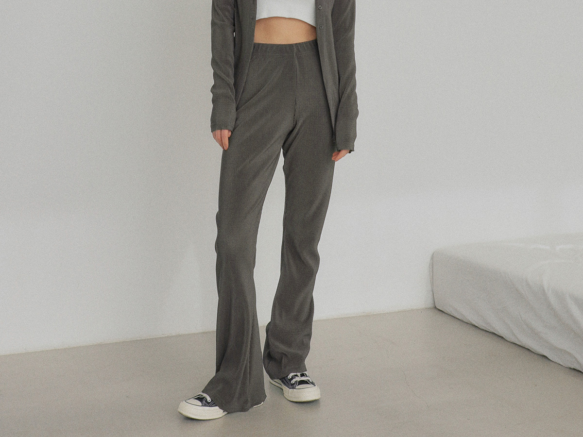 Ribbed Pull-On Bootcut Pants