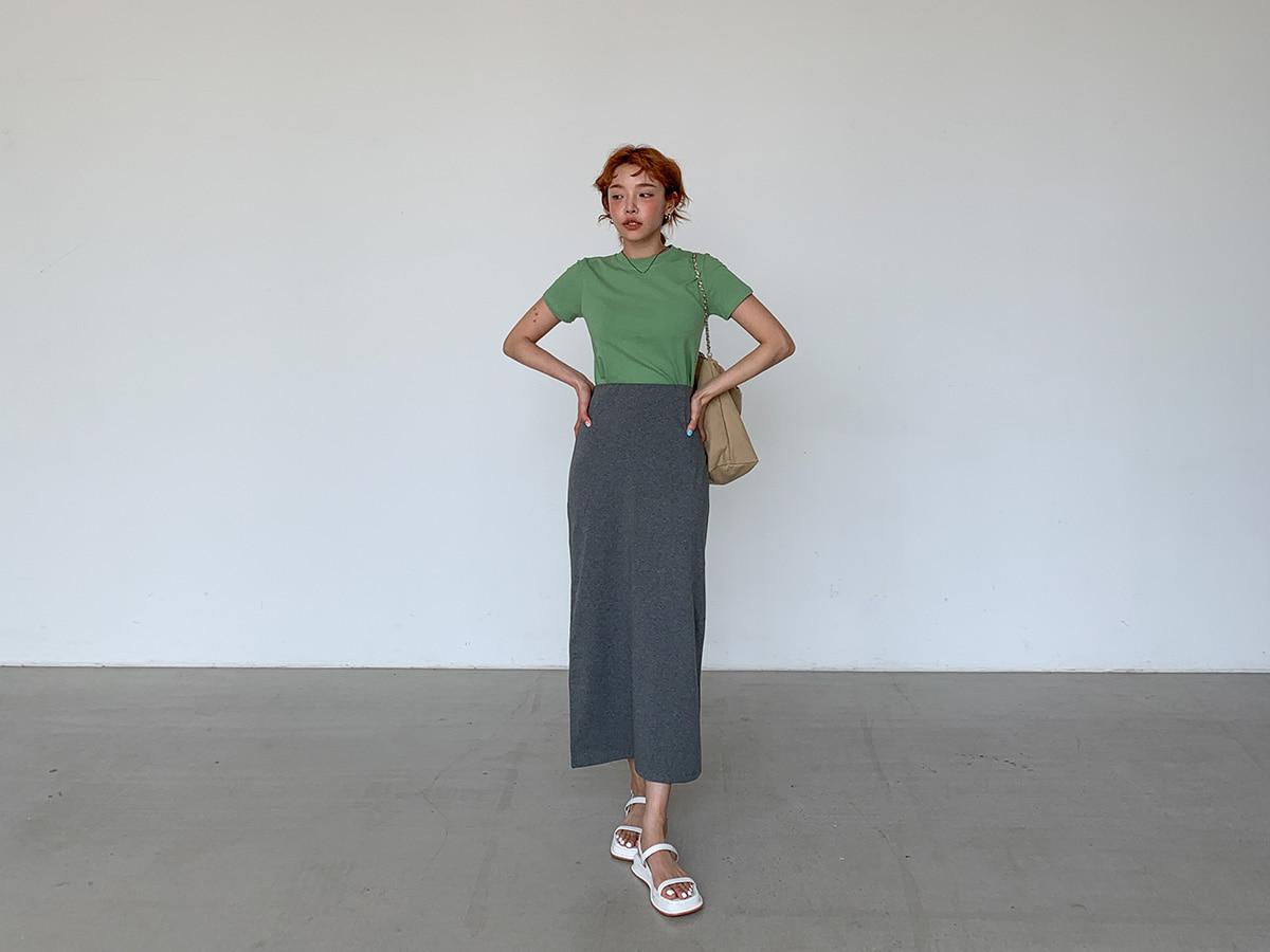 Straight Long Cotton Blend Skirt