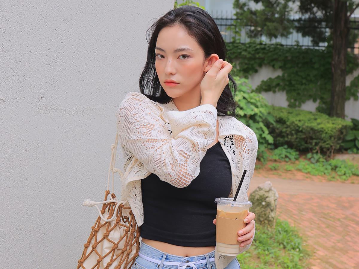 Sheer Button-Up Lace Shirt