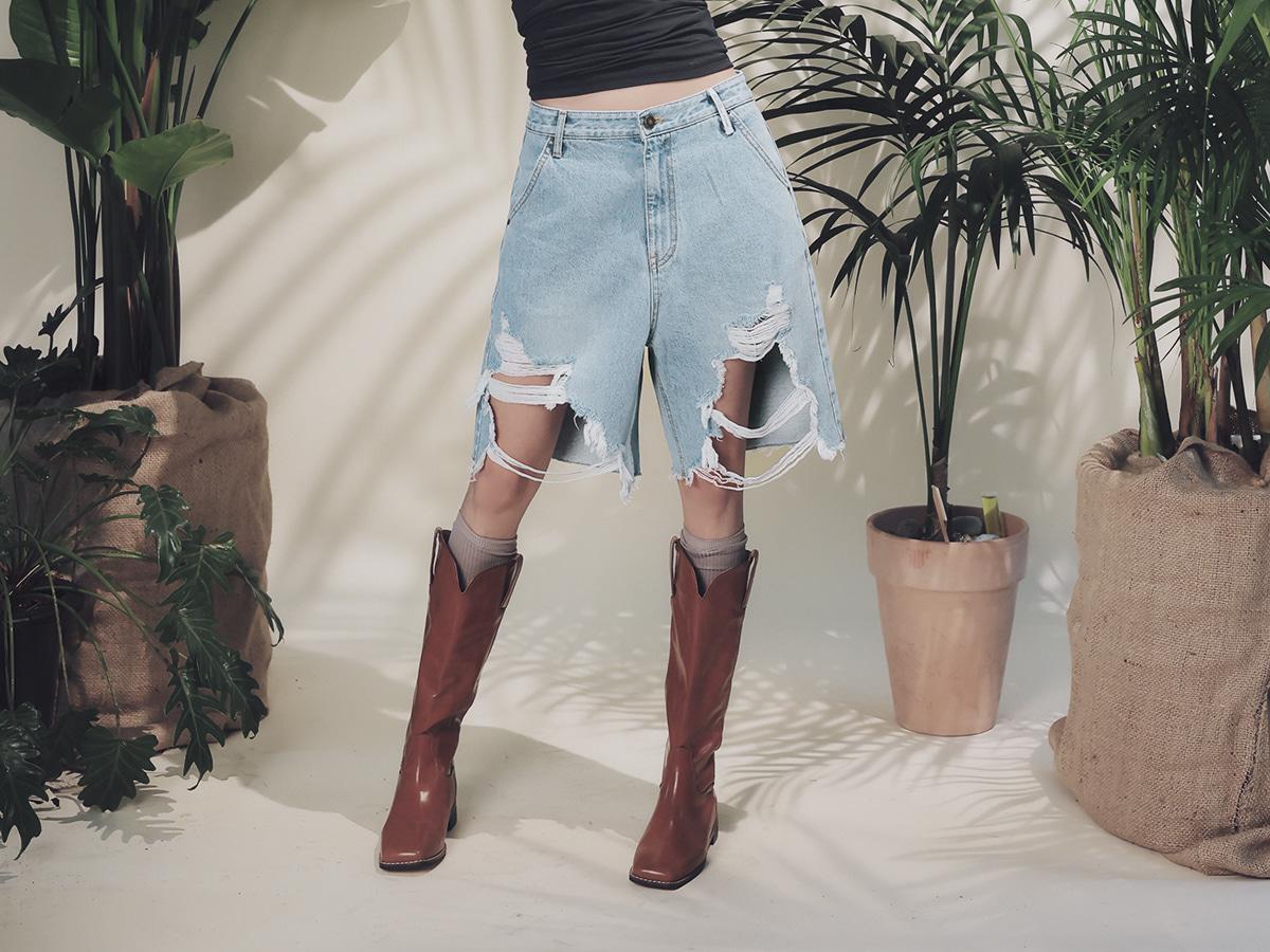 Distressed Knee-Length Denim Shorts