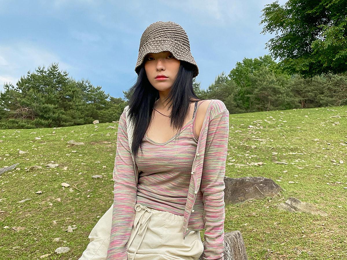 Patterned Cotton Blend Camisole