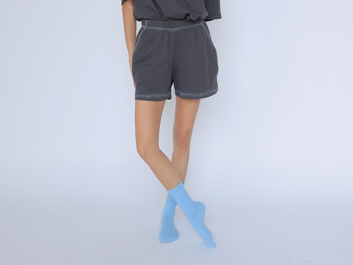 復古配色線條鬆緊腰短褲