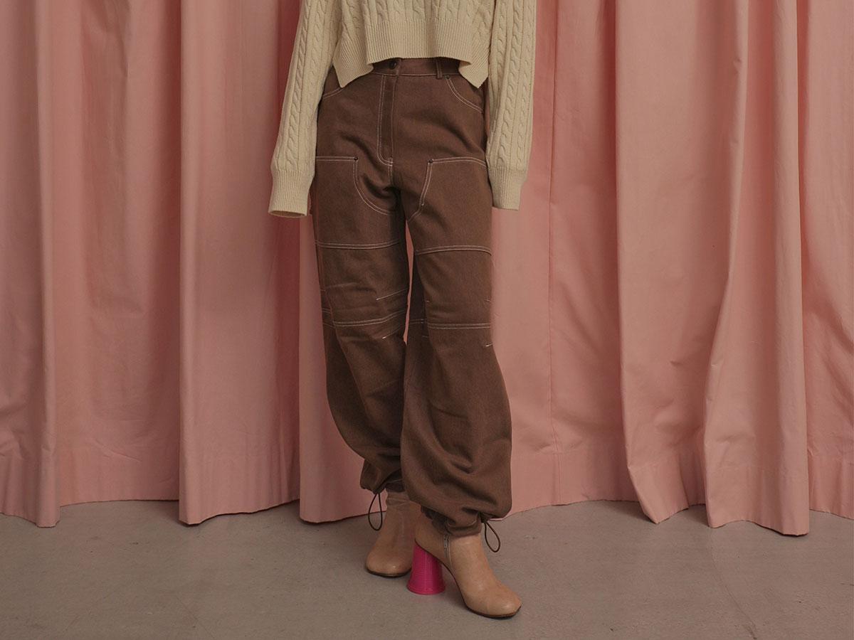 獨特配色車縫束口長褲