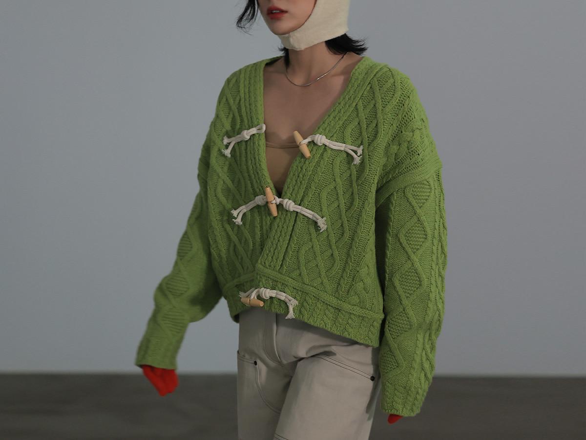 牛角釦麻花紋寬鬆針織外套