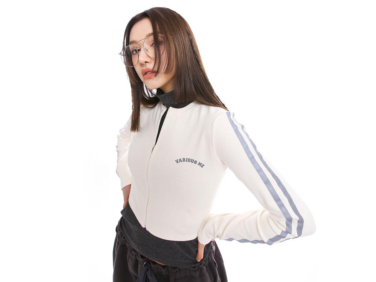 [VARIOUS ME] 플래시라인배색 레터집업가디건#(크림) 11월 22일부터 순차 배송가능!!