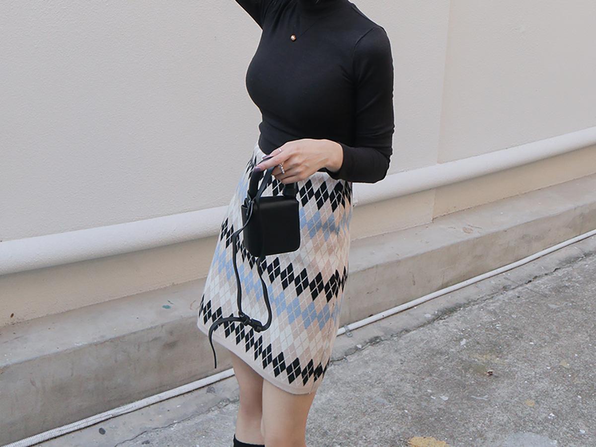 Argyle Pattern Knit Mini Skirt