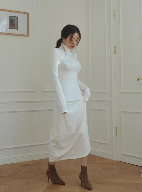 Solid Tone Turtleneck Long Dress
