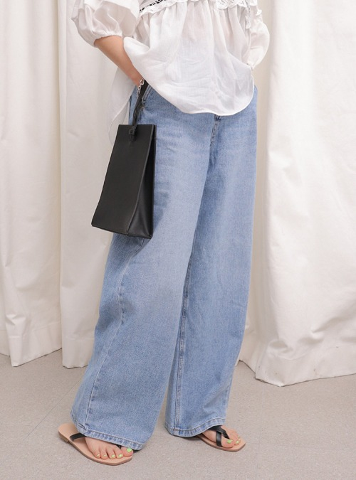 Whisker Wash Wide-Leg Jeans