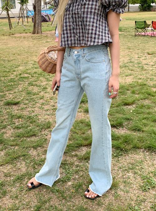 Contrast Stitch Frayed Hem Bootcut Jeans