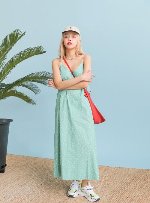 Slim String Printed V-Neck Dress