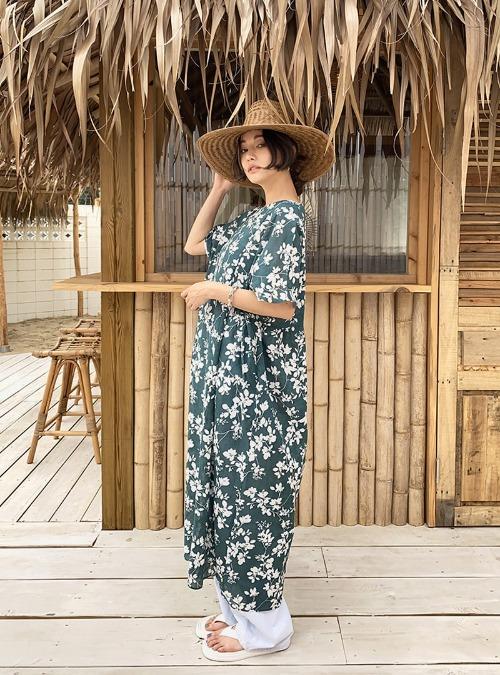 Floral Print Half Sleeve Loose Dress