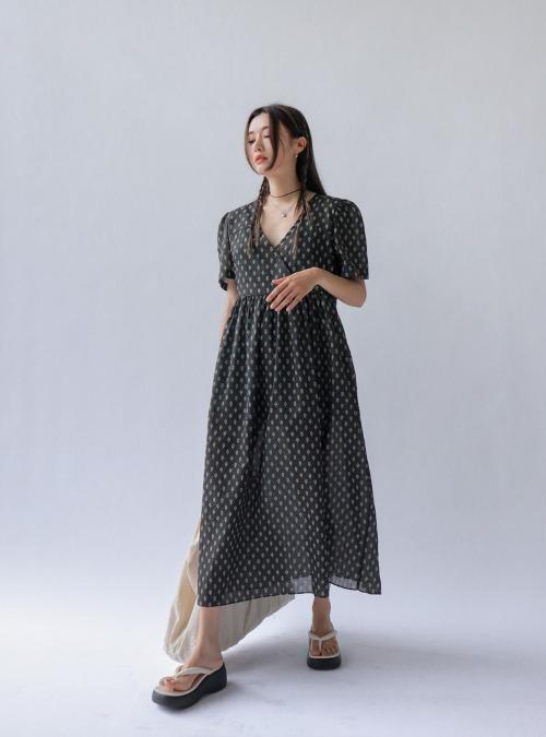 Allover Pattern V-Neck Long Dress