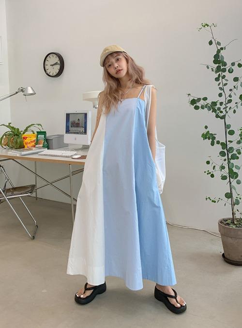 Color Block Flared Sleeveless Dress