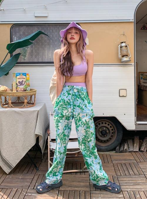 Tropical Print Elastic Waist Pants