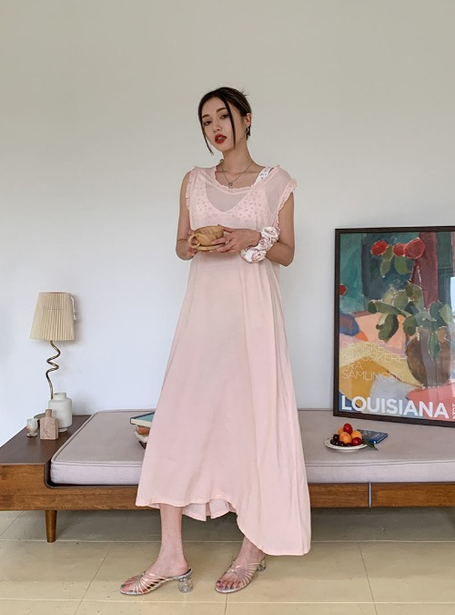 Frill Trim Sleeveless Long Dress