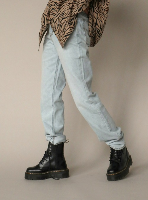 Contrast Stitch Basic Long Jeans