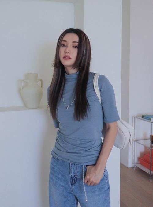 Mock Neck Solid-Toned T-Shirt