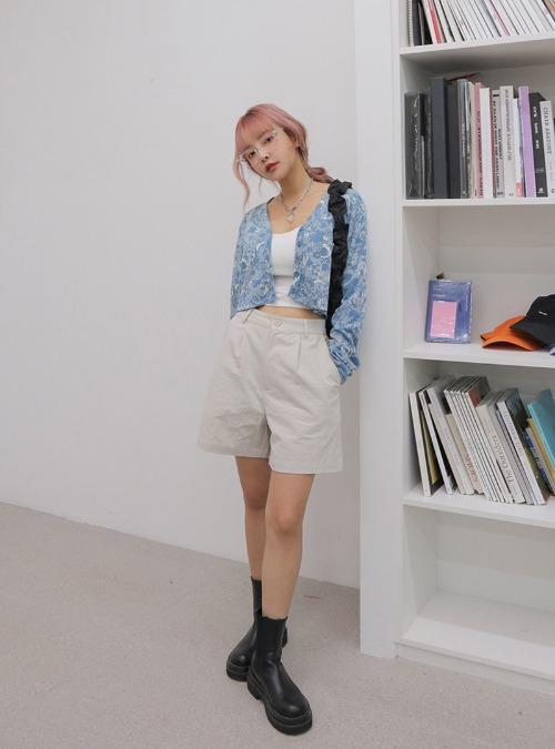 Wide-Leg Pleated Cotton Blend Shorts
