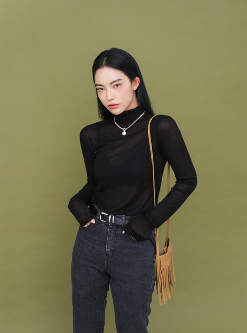 High Neck Solid Color T-Shirt