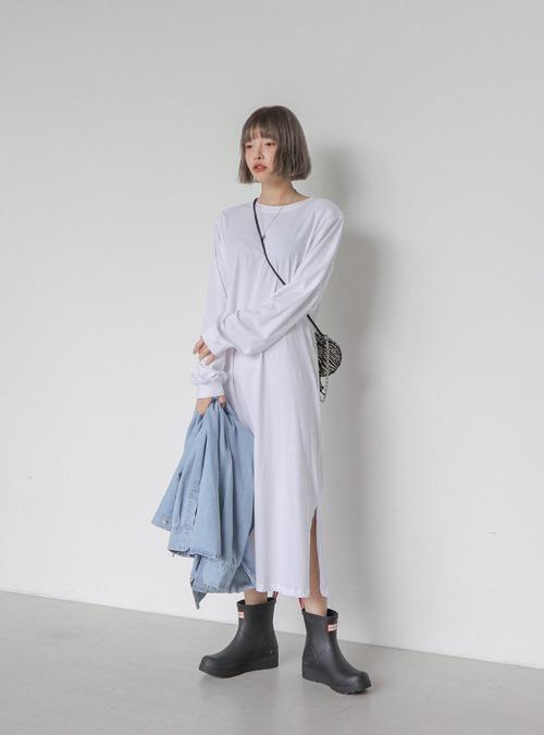Side Slit Long T-Shirt Dress