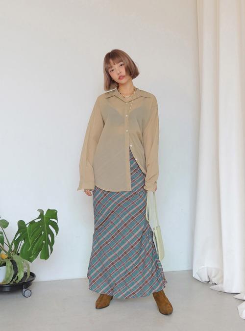 Elastic Waist Check Maxi Skirt