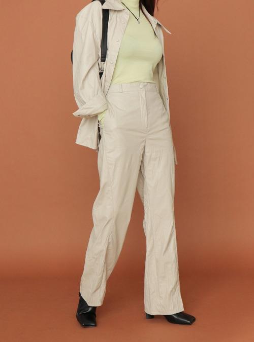 Front Slit Faux Leather Pants