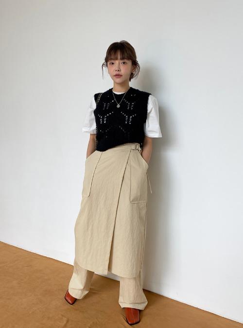 Buckled Waist Midi Wrap Skirt