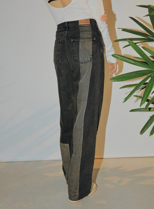 Contrast Detail Straight-Leg Jeans