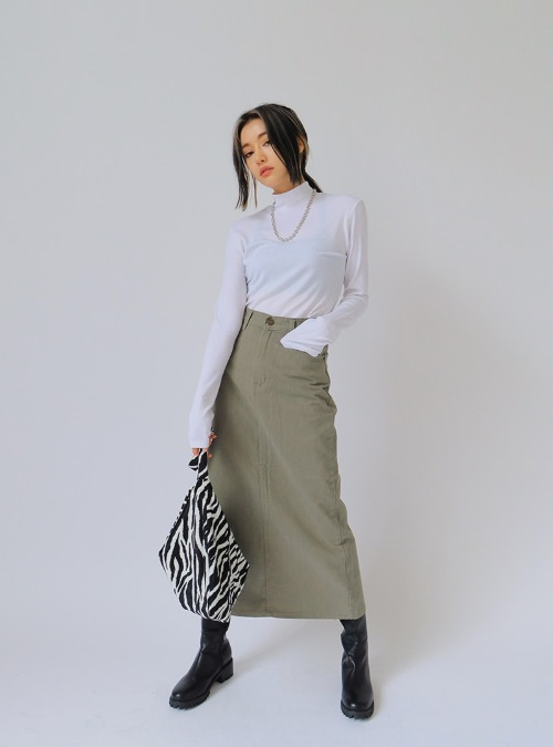 Long Solid Tone Straight Skirt