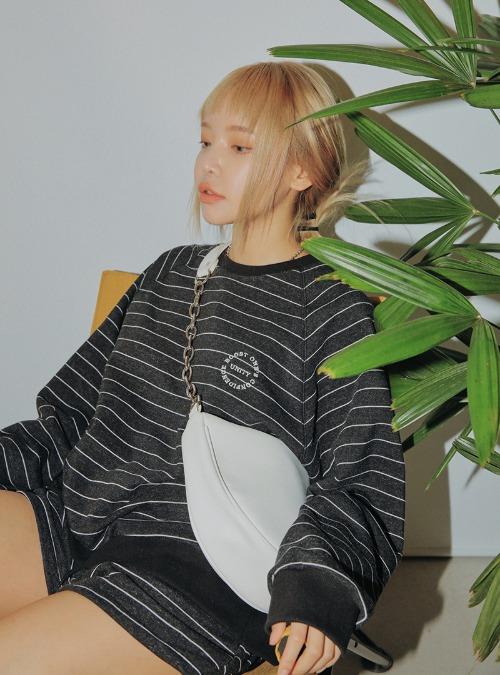 Striped Sweatshirt and Shorts Set