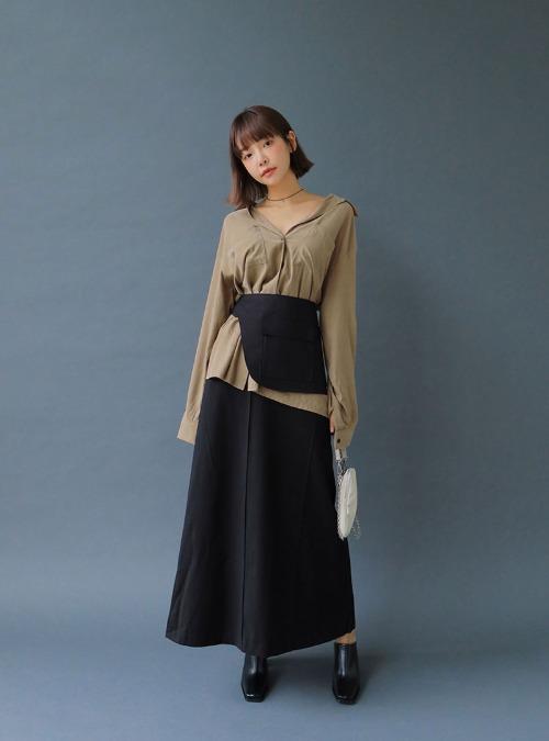 Pintucked Midaxi Skirt