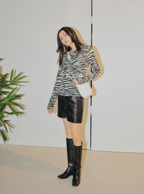 Darted Faux Leather Shorts