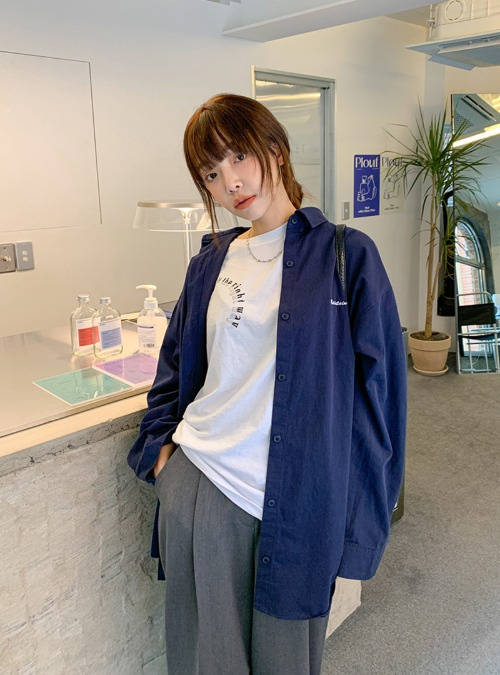 Lettering Embroidery Boxy Shirt