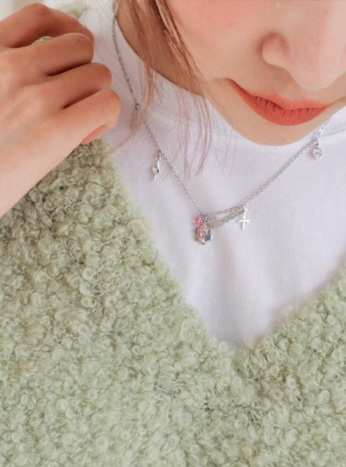 Mixed Pendant Cable Chain Necklace