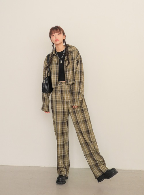 Pleated Loose Fit Check Pants