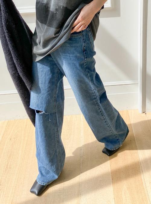 Ripped Long Wide-Leg Jeans