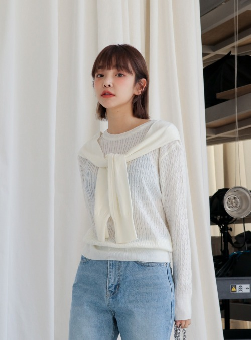 Self-Tie Detail Cable Knit Sweater