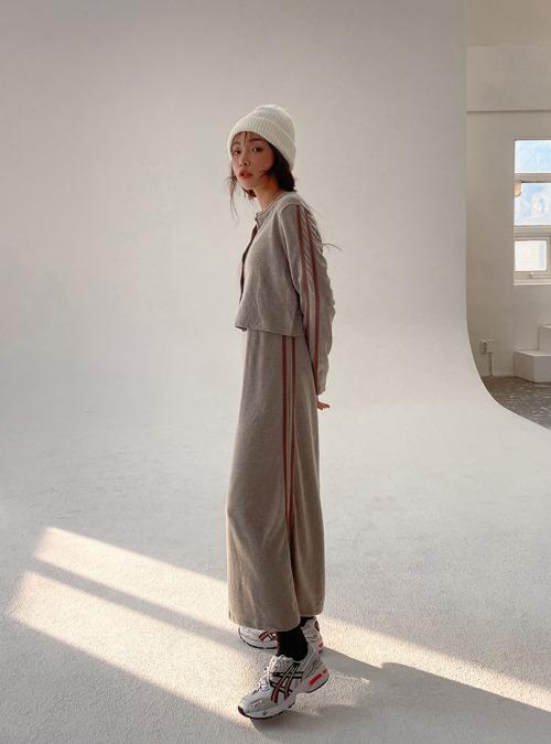 Stripe Trim Midaxi Sleeveless Dress