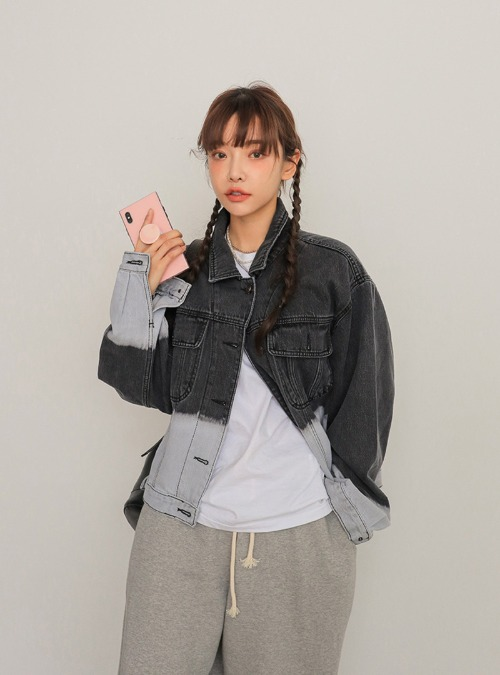 Two-Tone Button-Up Denim Jacket