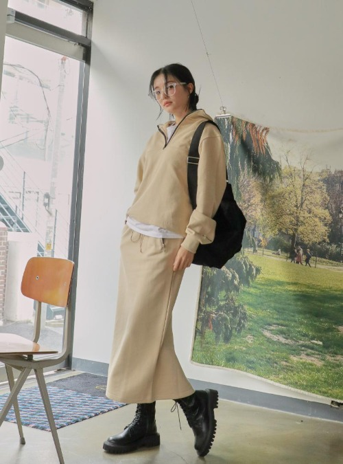 Zip Accent Midaxi Cotton Skirt